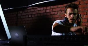 Dj man using sound mixer console at a concert 4k. Dj man using sound mixer console at a concert in nightclub 4k stock video footage