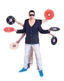 DJ - Mehrfache Vinylhände Stockbilder