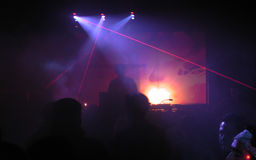 DJ met laser Royalty-vrije Stock Foto