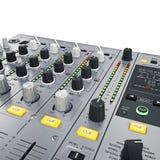 DJ-Mischerkontrollen Stockfoto