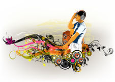 Dj mix. Abstract  illustration of the DJ with a banner for text Royalty Free Stock Photo