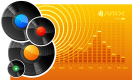 DJ mix. A vector image of several vinyl disks on an orange background Stock Images
