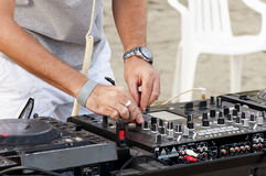 Dj Mix on beach Royalty Free Stock Images