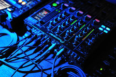 Dj mix and playing with pioneer mixer and console Royalty Free Stock Photos