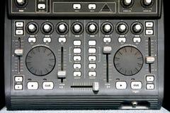DJ mixer. Close up shot of DJ music mixer stock photography