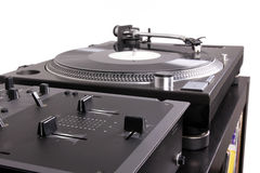 Dj Mixer And Turntable On Black Table Stock Photos