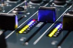 DJ Mixer Audio Levels, Hearing Damage, Distortion Royalty Free Stock Image