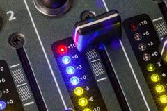DJ Mixer Audio Levels, Hearing Damage, Distortion Stock Photo