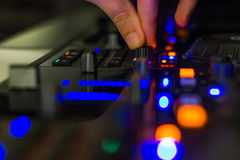 DJ mixer in a club, close up. Royalty Free Stock Image