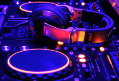 Dj mixer console at work Stock Photo