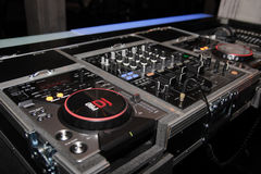 DJ Mixer Controller. Professional digital DJ mixer controller with CD multi players in a club royalty free stock photography