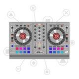 Dj mixer controller. Flat line art. Dj mixer controller. Flat line art illustration Royalty Free Illustration