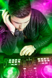 DJ with a mixer equipment Royalty Free Stock Image
