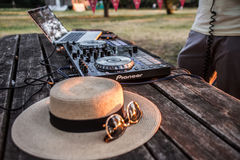 Dj, Mixer, Hat and Sunglasses. Summer party on the beach Lido Stock Photography