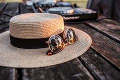 Dj, Mixer, Hat and Sunglasses. Summer party on the beach Lido Royalty Free Stock Photo