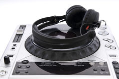 Dj mixer with headphones Royalty Free Stock Photos