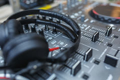 DJ Mixer with headphones. Stock Image