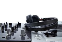 Dj mixer with headphones isolated royalty free stock image