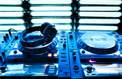 Dj mixer with headphones Stock Images