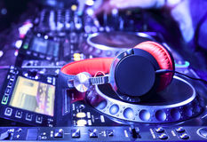 Dj mixer with headphones Royalty Free Stock Photo