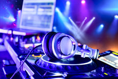 Dj mixer with headphones Royalty Free Stock Image