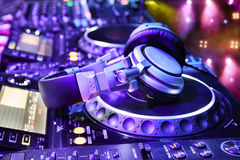 Dj mixer with headphones Stock Image