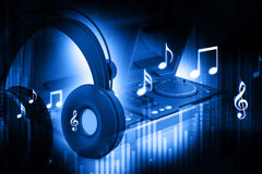 Dj mixer with headphones stock illustration