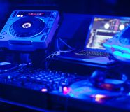 Dj mixer in a music club Stock Photos
