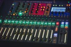 DJ mixer and music switchboard stock images