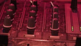 DJ mixer at night club stock video