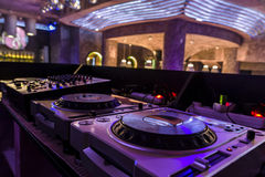 Dj mixer  at a nightclub. Stock Photo