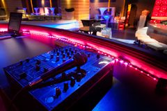 Dj mixer at a nightclub. Nobody Royalty Free Stock Image