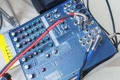 DJ mixer for sound effects and acoustic systems connection. Royalty Free Stock Photo