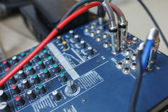 DJ mixer for sound effects and acoustic systems connection. Stock Image