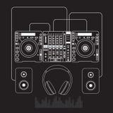 Dj mixer sound turntables headphone isolated Stock Photos