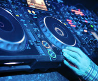 Dj mixes the track Stock Images