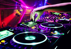 Dj mixes the track stock illustration