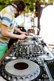 Dj mixes the track in club Stock Photos