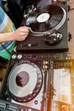 Dj mixes the track in club Stock Image