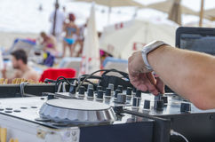 DJ mixette on the beach Stock Photos