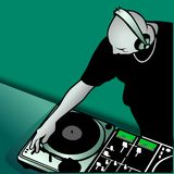 DJ mixing vector illustration