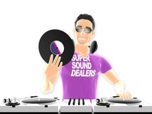 DJ mixing. 3D toon rendered dj with turntables