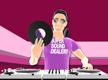 DJ mixing. 3D toon rendered dj with turntables Stock Photos