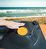 DJ mixing beach Stock Photos