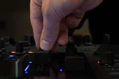 DJ mixing in a club, close up. Royalty Free Stock Image