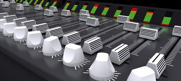 DJ mixing desk sliders and knobs Royalty Free Stock Image