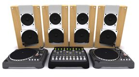 DJ mixing desk turntables and speakers Stock Photos