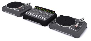 DJ mixing desk turntables and speakers Stock Images