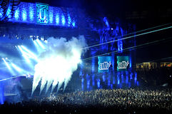 Dj mixing live. CLUJ NAPOCA, ROMANIA – JULY 30, 2015: Dj ATB (Andre Tanneberger) mixing on the stage during a live concert at Untold Festival in the European Stock Image