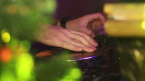 DJ mixing music on console at the club. DJ mixing music on console at the disco stock video